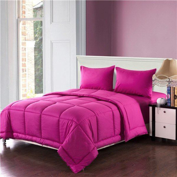 Comforter - Tache 3-4 Piece Cotton Solid Hot Pink Box Stitched Comforter Set, Cal King, King