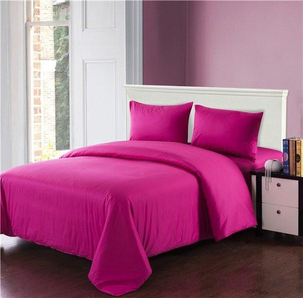 Comforter - Tache 3-4 Piece Cotton Solid Hot Pink Comforter Set With Zipper, Cal King, King, Twin