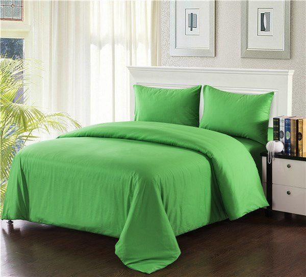 Comforter - Tache 3-4 Piece Cotton Solid Spring Green Comforter Set With Zipper
