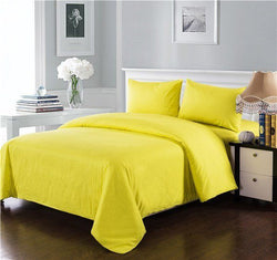Tache 3-4 Piece Cotton Solid Sunny Yellow Comforter Set With Zipper (3-4PCOM-W/Zip-Yellow-CK) - Tache Home Fashion