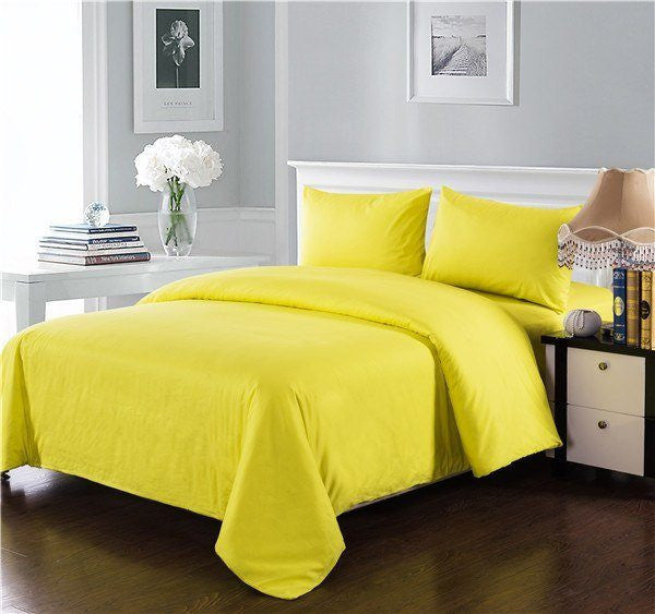 Comforter - Tache 3-4 Piece Cotton Solid Sunny Yellow Comforter Set With Zipper