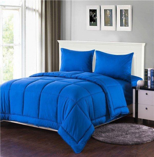 Tache 3-4 Piece Solid Deep Blue Box Stitched Comforter Set (3-4PCOM-BOXES-Blue) - Tache Home Fashion