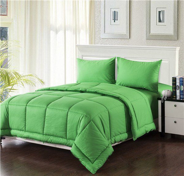 Comforter - Tache 3-4 Piece Solid Spring Green Box Stitched Comforter Set