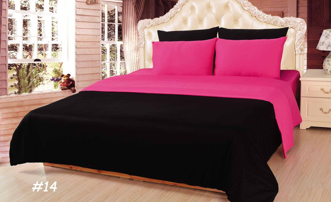 Tache Cotton Reversible Hot Pink Black Comforter Set With Zipper Tache Home Fashion