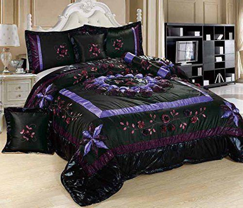 Comforter - Tache 4-6 Piece Fancy Floral Midnight Lily Pond Patchwork Comforter Quilt Set
