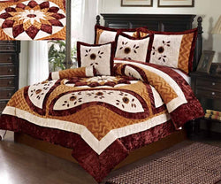 Tache Velvet Patchwork Floral Orange Brown Autumn's Blossom Comforter Set (ZC1021) - Tache Home Fashion