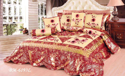 Tache Satin Patchwork Floral Red Gold Spring Blooms Comforter Set (BM-6193) - Tache Home Fashion