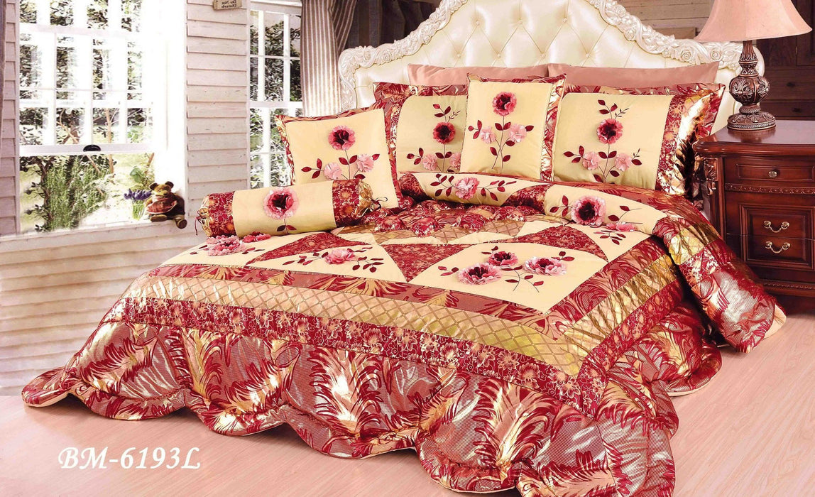 Tache 4-6 Piece Floral Red and Gold Spring Blooms Patchwork Comforter Quilt Set (BM-6193) - Tache Home Fashion