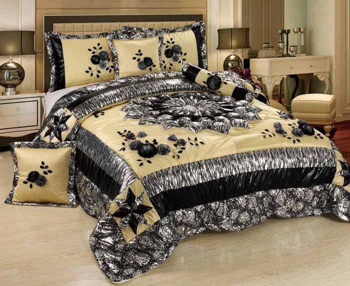 Tache Satin Patchwork Floral Black Silver Beige Winter Moon Comforter Set (BM-4358L) - Tache Home Fashion