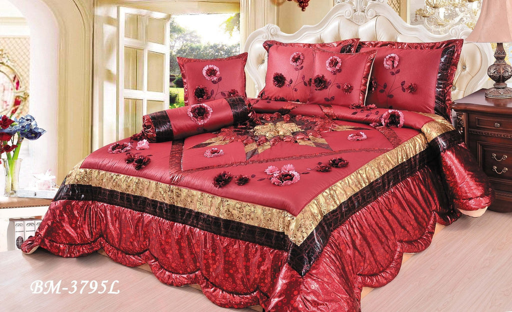 Comforter - Tache 4-6 Piece Golden Red Winter Holiday Luxurious Patchwork Comforter Quilt Set