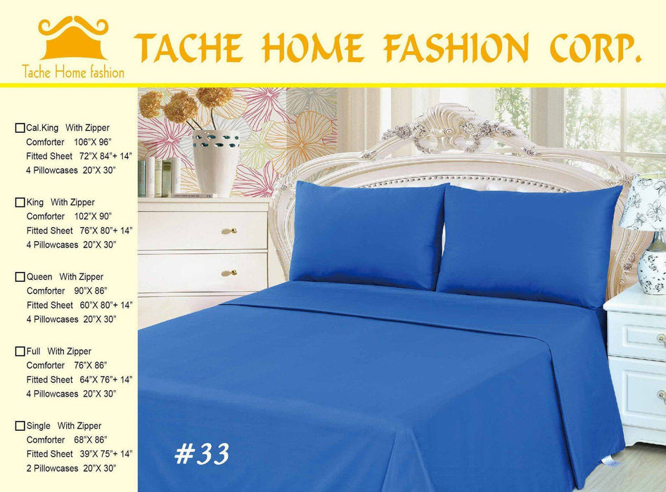 Tache 4 Piece Solid Deep Blue Comforter Set With Zipper (TA3-4PCOM-W/Zip-Blue-CK) - Tache Home Fashion