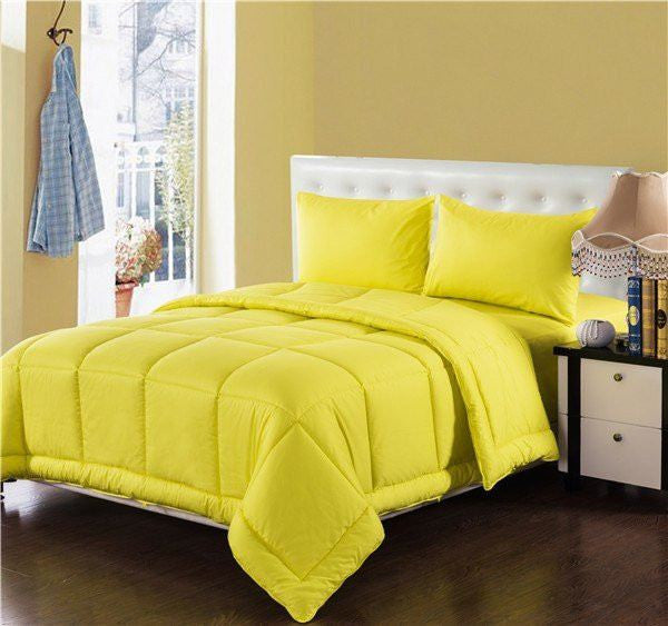 Comforter - Tache 4 Piece Solid Sunny Yellow Box Stitched Comforter Set