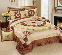 Tache Satin Patchwork Floral Beige Brown Scalloped Autumn Royal Comforter Set (MZ1265) - Tache Home Fashion