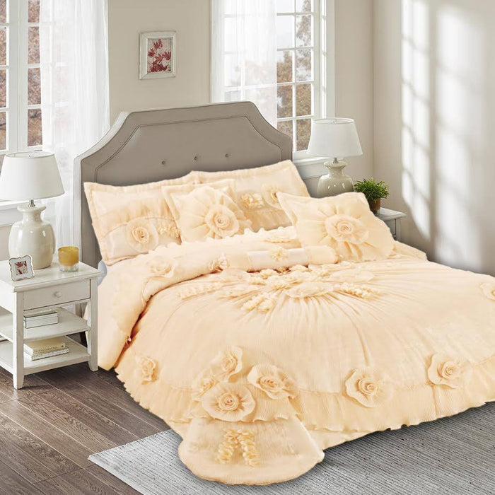 Tache Satin Floral Ruffles Embellished Light Orange Peach Daffodil Bouquet Comforter Set (002-3) - Tache Home Fashion