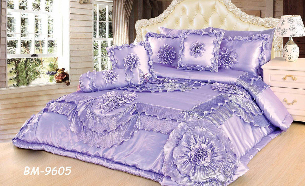 Comforter - Tache 6 Piece Fancy Floral Faux Satin Sateen Solid Purple Lavender Field Comforter Quilt Set