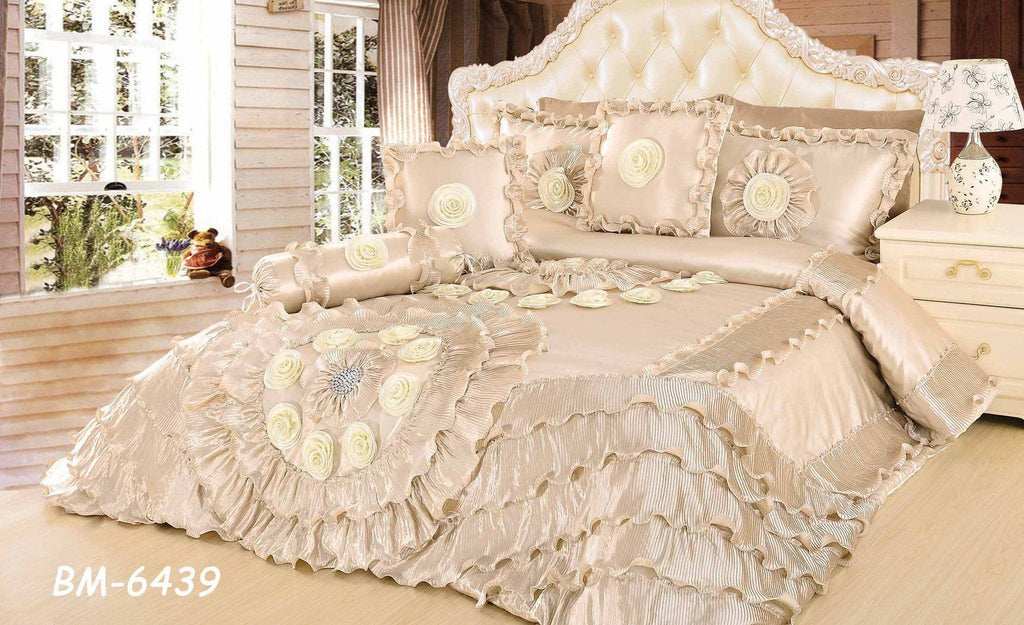 King 6 Piece Faux Sateen Royal Wedding Chamber In Cream