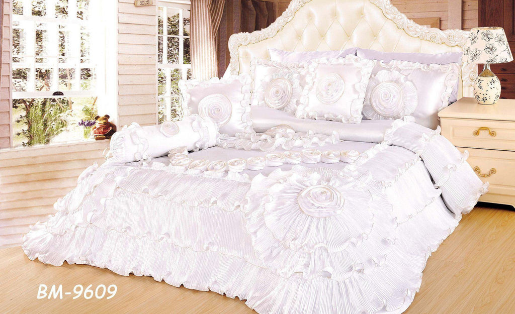 Comforter - Tache 6 Piece Faux Sateen Royal Wedding Chamber In White Comforter Set