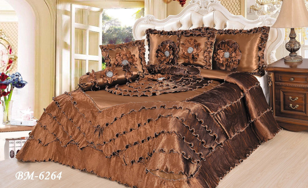 Comforter - Tache 6 Piece Floral Faux Satin Fancy Solid Brown Chocolate Waterfall Comforter Set