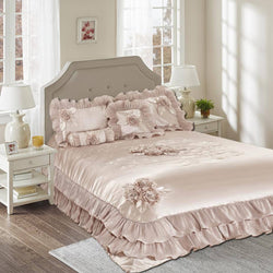 Tache Satin Ruffle Floral Champagne Beige Sweet Dreams Comforter Set (1260) - Tache Home Fashion