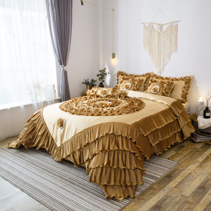 Tache 6 Piece Golden Caramel Latte Faux Satin Comforter Quilt Set (BM4578) - Tache Home Fashion