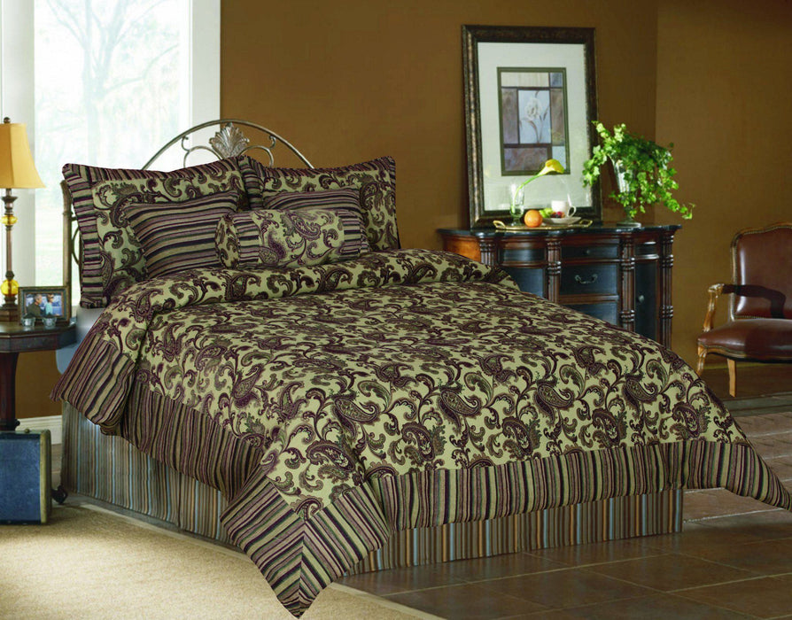 Tache Chenille Elegant Paisley Floral Striped Brown Burgundy Exotic Blooms Comforter Set (BM14224) - Tache Home Fashion