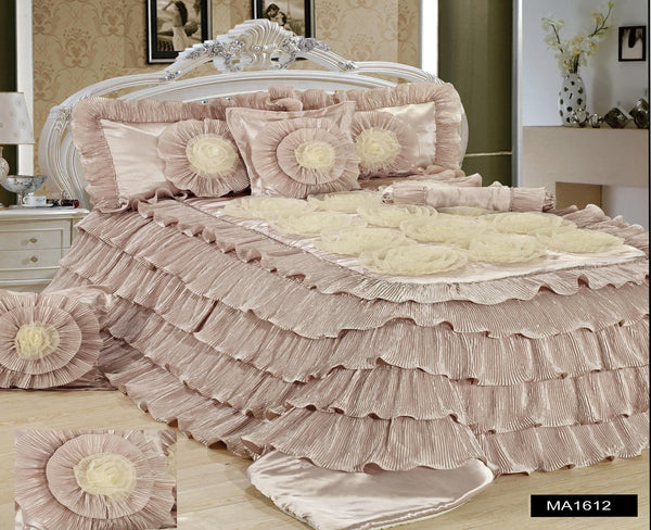 Tache 6 piece luxury beige cinnamon chai ruffled comforter for Frilly bedspreads