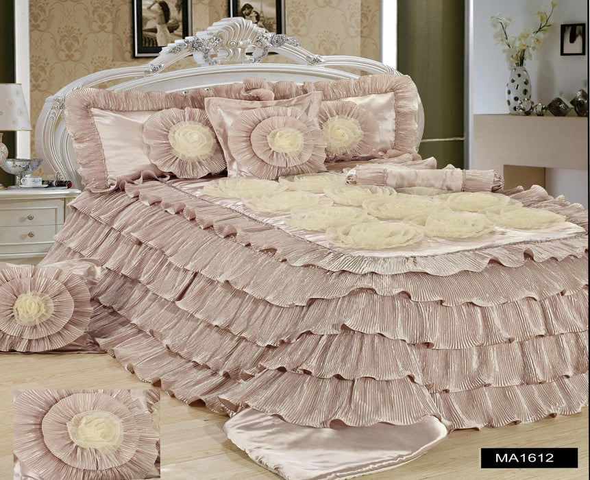 Tache Luxury Beige Cinnamon Chai Ruffled Comforter Set (MA1612) - Tache Home Fashion