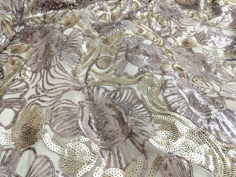 Tache Satin Sequin Embellished Crochet Champagne Beige Purple Roses Comforter Set (MZ1158) - Tache Home Fashion