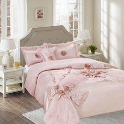 Tache Satin Floral Elegant Pink Champagne Raspberry Macaroon Comforter Set (1632) - Tache Home Fashion