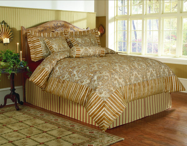 Comforter - Tache 6 Piece Royal Gold Fall's End Floral Comforter Bedding Set With Zipper