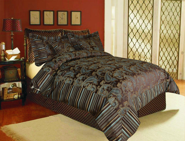 Comforter - Tache 6 Piece Royal Luxury Eastern Spring Paisley Comforter Bedding Set With Zipper