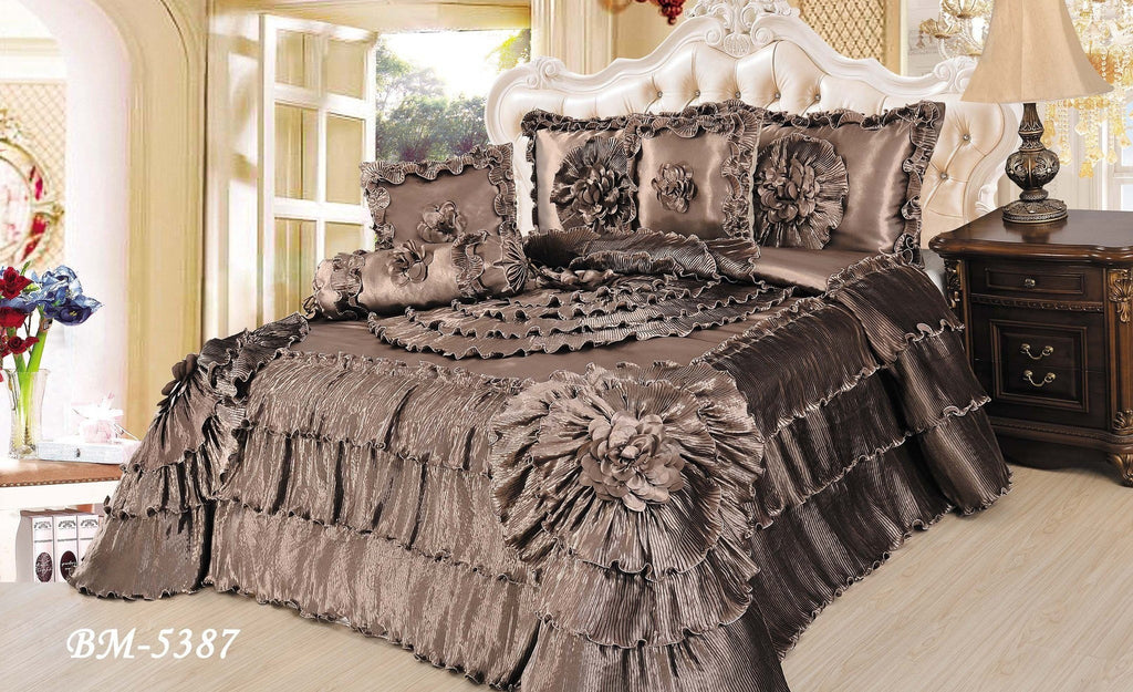 Comforter - Tache 6 Piece Solid Brown Shades Of Espresso Faux Satin Fancy Floral Comforter Set, King