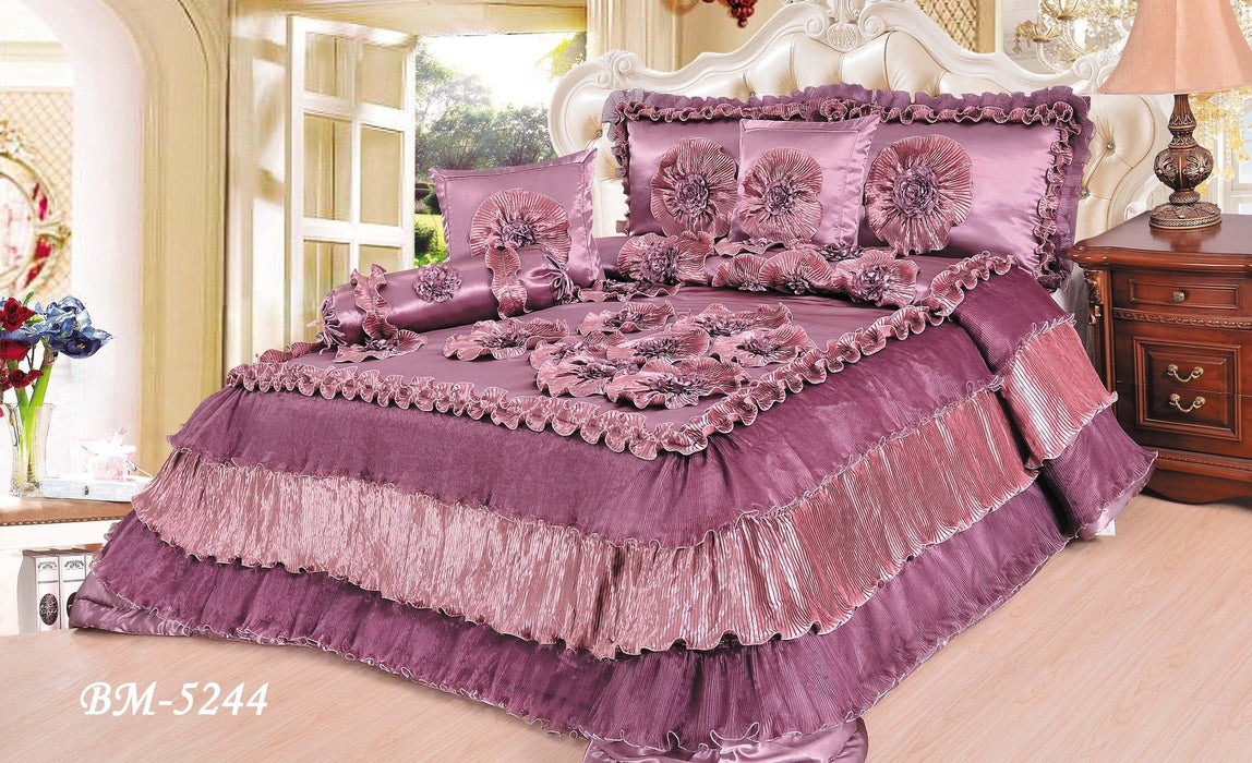 Tache 6 Pieces Solid Mauve Faux Satin Napa Vineyard Luxury Floral Comforter Quilt Set (BM5244) - Tache Home Fashion