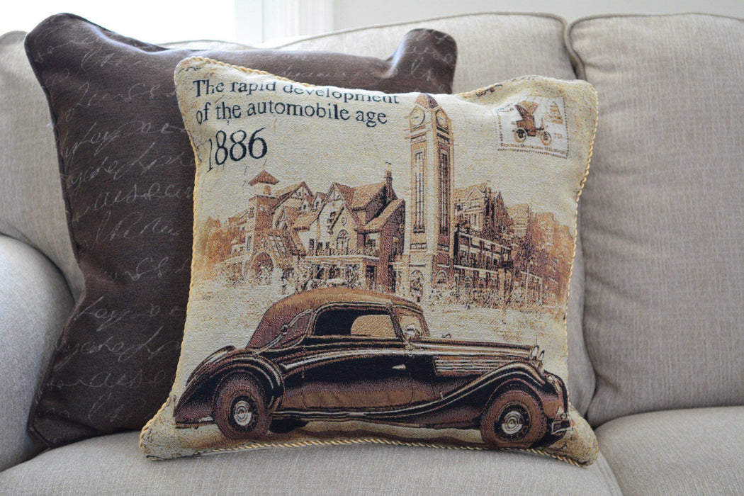 Tache A Drive into Town with Benz Throw Pillow Cushion Cover (16543) - Tache Home Fashion