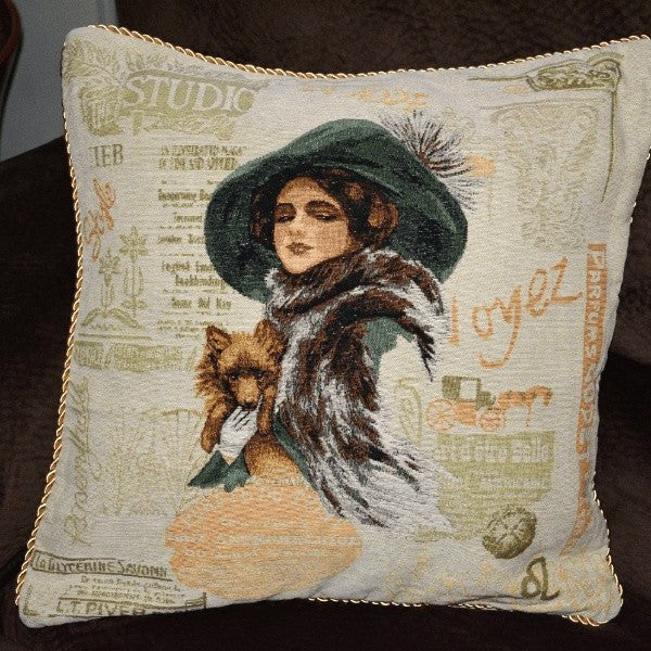 Tache Puppy Day Out Tapestry Throw Pillow Cushion Cover (CC-1354) - Tache Home Fashion