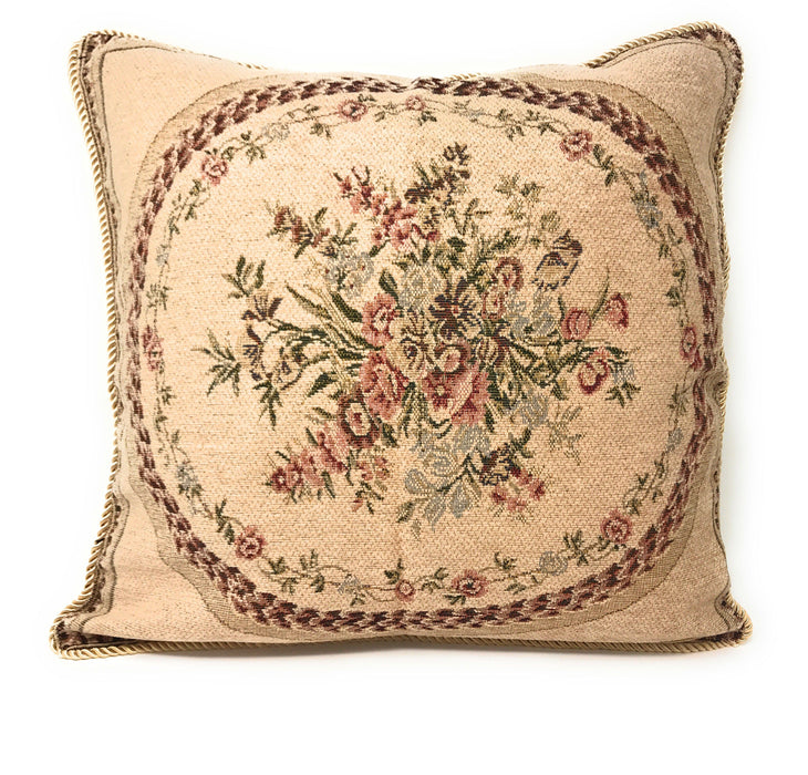 Tache 2 PC Chenille Woven Medallion Red Burgundy Garden Throw Pillows (DSC0014-2PCCC) - Tache Home Fashion
