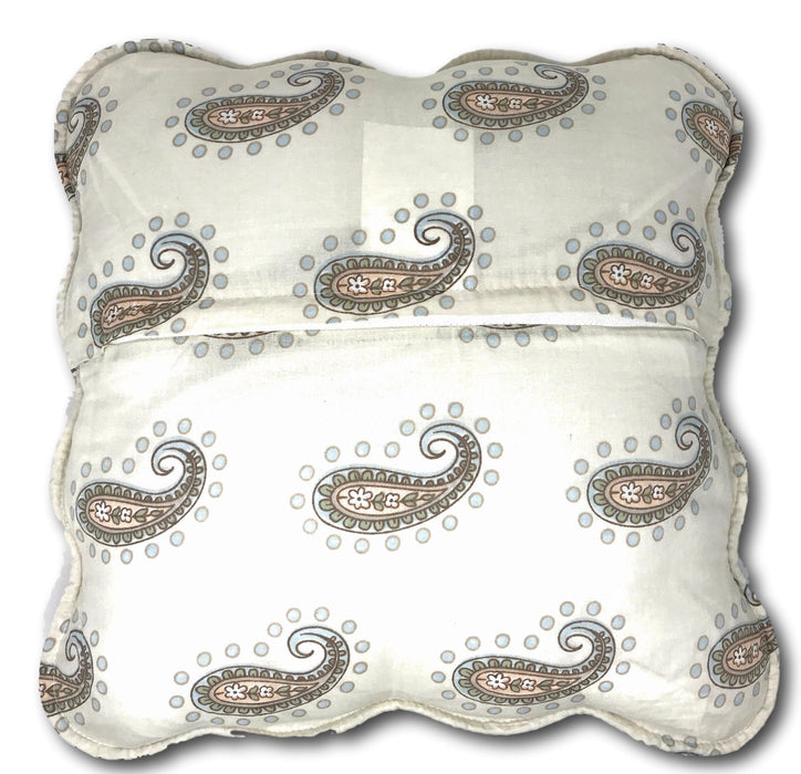Tache Cotton Paisley Pastel Scalloped French Golden Garden Cushion Cover 2-Pieces (HS7614) - Tache Home Fashion