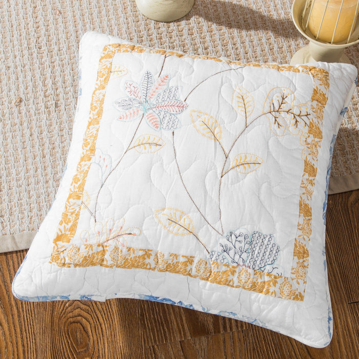 Tache Cotton Patchwork Embroidered White Blue Yellow Floral Winter Frost Cushion Cover 2-Pieces (JHW-668) - Tache Home Fashion