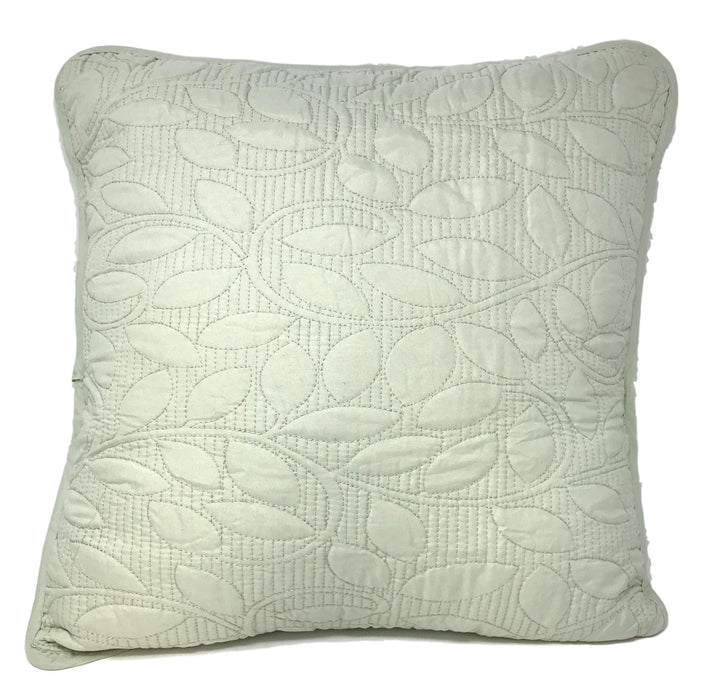 Tache Soothing Pastel Mint Sage Green Leaves Matelasse Sweet Pea Cushion Cover 2-Pieces - Tache Home Fashion