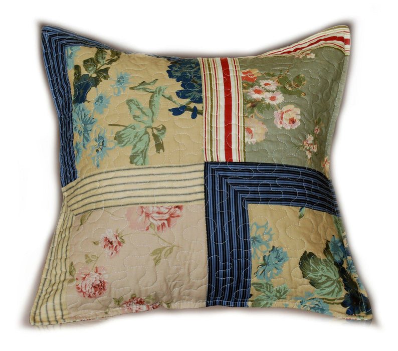 Tache Cotton Patchwork Striped Exotic Floral Beige Blue Japanese Garden Cushion Cover 2-Pieces (DXJ10076) - Tache Home Fashion