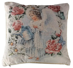 Tache Angel in the Garden 18 x 18 Inch Throw Pillow Cushion Cover (16377) - Tache Home Fashion