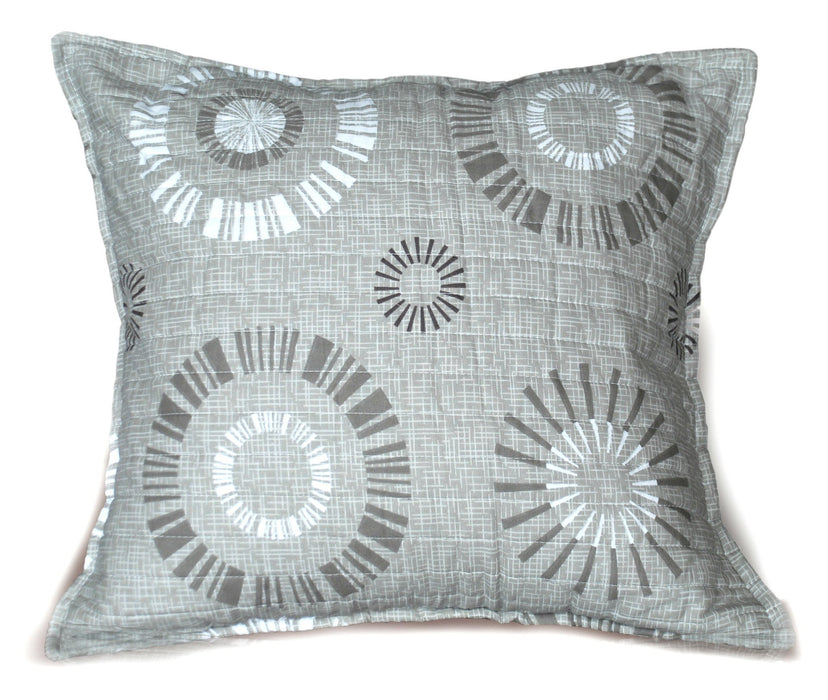 Tache Cotton Taupe Beige Striped Floral Geometric Starburst Cushion Cover 2-Pieces (DXJ107076) - Tache Home Fashion