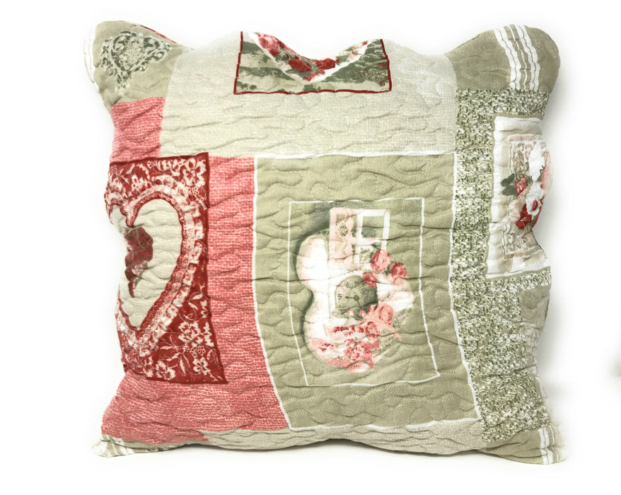 Tache Dainty Sweetheart Cottage Square Pillow Accent Cushion Covers Scalloped 2 Piece (SD-17007-CC) - Tache Home Fashion