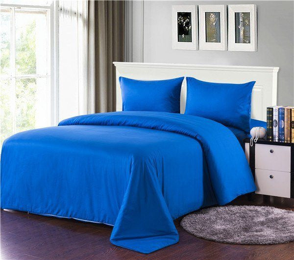 Tache Cotton Deep Blue Duvet Cover Set (2-3PDUV-Blue) - Tache Home Fashion