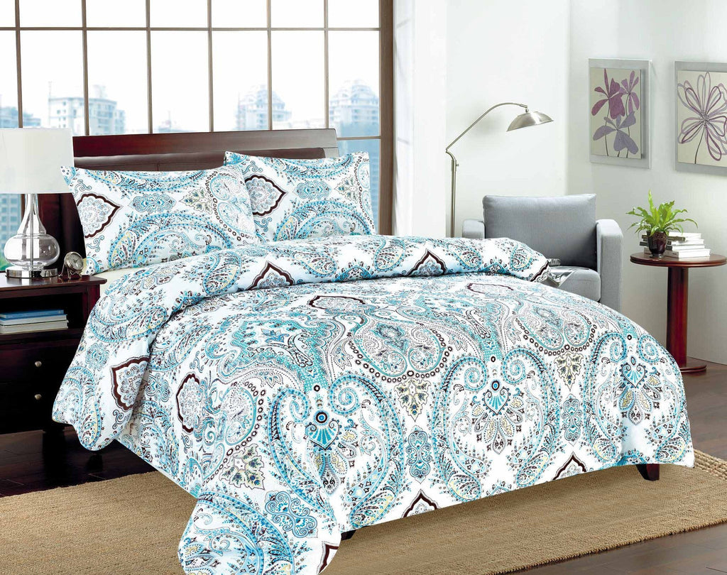 Duvet Set - Tache 3-2 Pc Cotton Frozen Forest Blue White Paisley Floral Cotton Duvet Cover Set