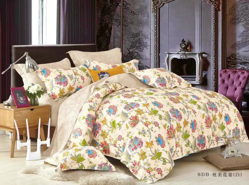 Duvet Set - Tache 3-2 Piece Cotton Quiet Morning Garden Floral Cream Colorful Girly Duvet Cover Set