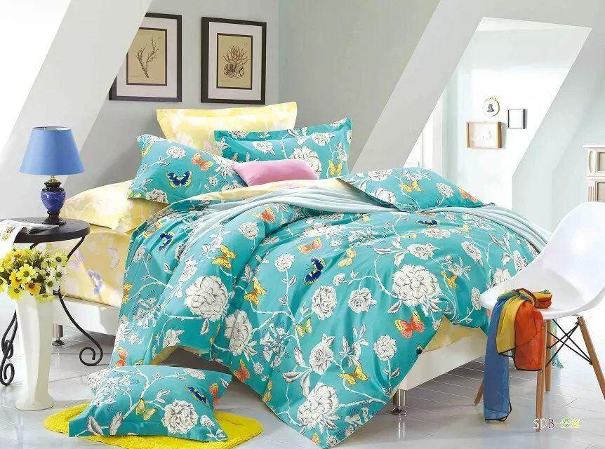 Tache Butterfly Wonderland Cotton Aqua Floral Duvet Cover (2142) - Tache Home Fashion