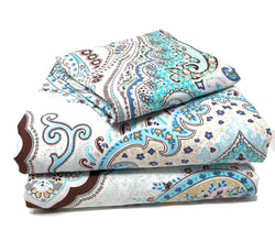 Tache Frozen Forest Cotton Blue Paisley Duvet Cover (2172) - Tache Home Fashion