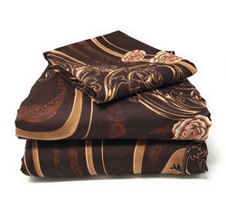 Tache Melted Gold Brown Floral Duvet Cover (2815) - Tache Home Fashion