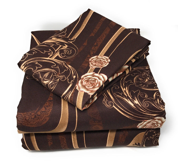 Tache Melted Gold Brown Rose Pink Swirl Floral Duvet Cover Set (2815) (TA2815) - Tache Home Fashion